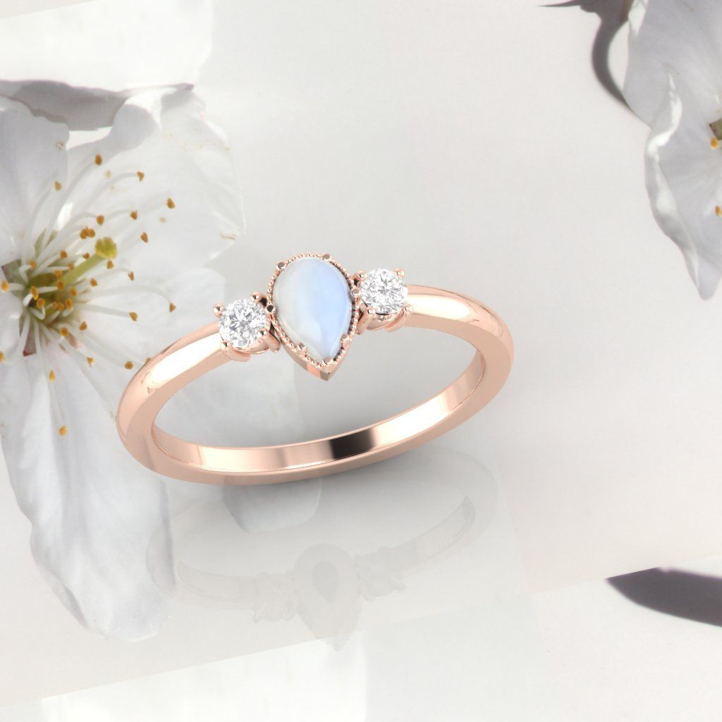 Moonstone ring moonstone and diamond ring engagementring