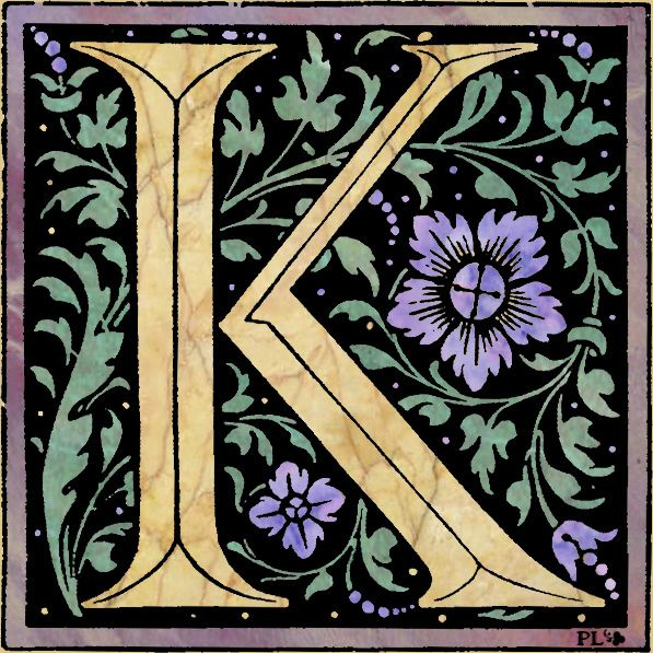 """""""K' Vintage Font with colored marble by Plum leaves,"""