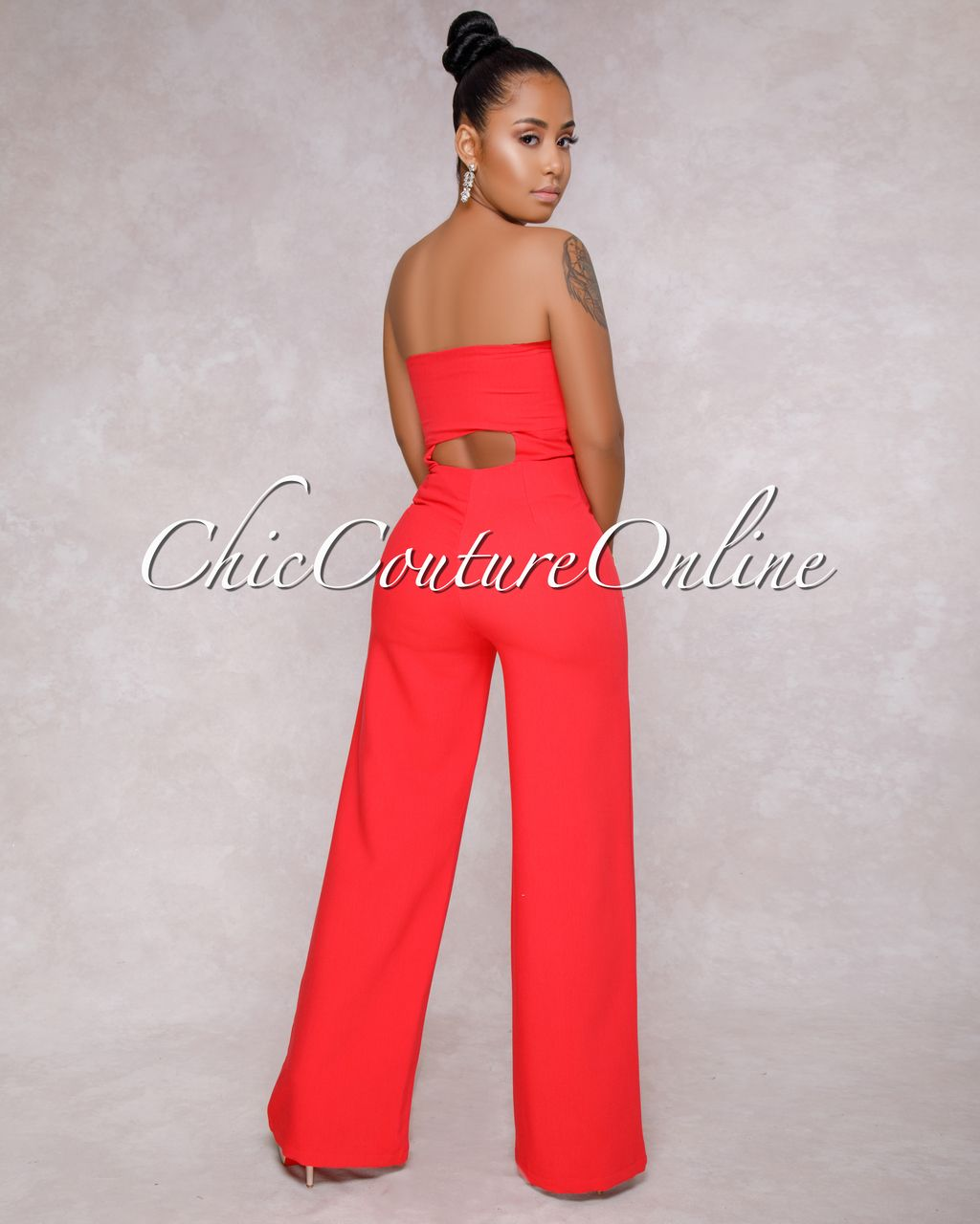 cd76554f8ca Chic Couture Online - Brinley Strapless Red Knot Front Jumpsuit