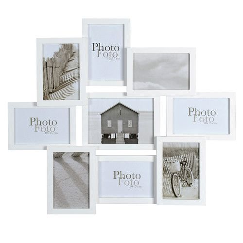 Cadre photo 9 vues en bois blanc 50 x 58 cm RELIEF | [ MEUBLES ...