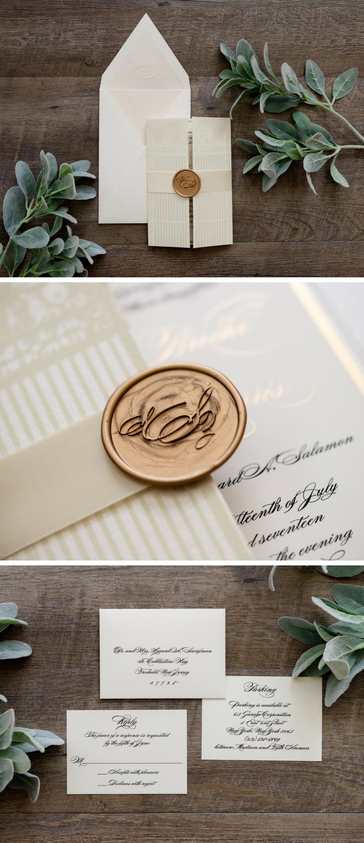 A custom gatefold wedding invitation with silk ribbon, gold ...