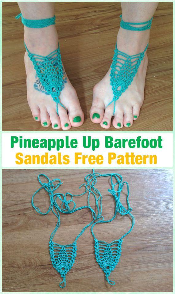 Crochet Pineapple Up Barefoot Sandals Free Pattern Crochet Women