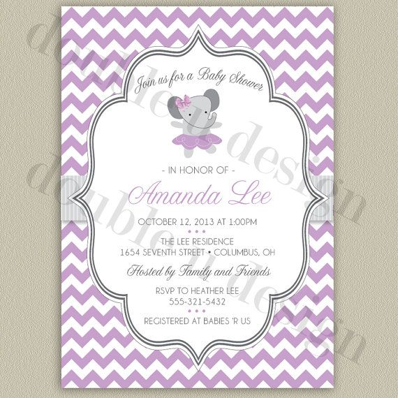 Elephant Ballerina with Chevron Background by doubleudesign