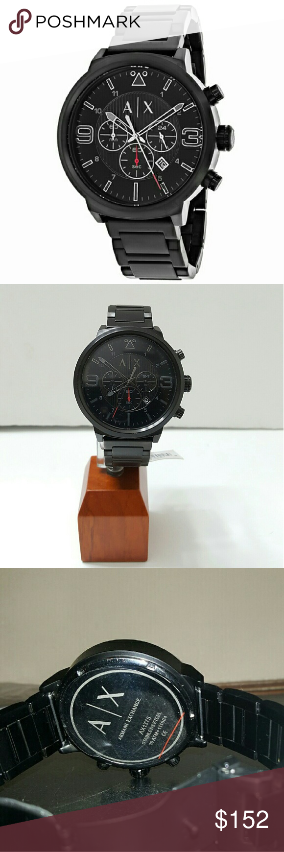 NWT Armani AX1375 Men's Watch Firm PRICE  $152.00  100% Authentic as you can see.   The watch only.    Retail price  $240.00   BRAND:Armani Exchange MODEL:AX1375 GENDER:Men's MOVEMENT:Quartz CASE SIZE:49 mm CASE THICKNESS:14 mm CASE MATERIAL:Black Stainless Steel CASE SHAPE:Round CASE BACK:Solid BEZEL:Fixed DIAL TYPE:Analog DIAL COLOR:Black CRYSTAL:Scratch Resistant Mineral HANDS:Black DIAL MARKERS:Index- Arabic Numerals SUB DIALS:Three - 60 Armani Exchange Accessories Watches