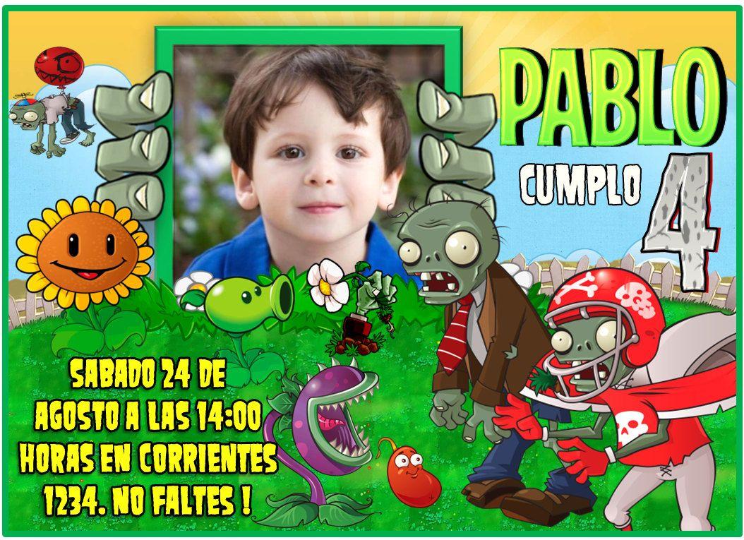 Plants Vs Zombies Invitation Birthday Printable Invitation
