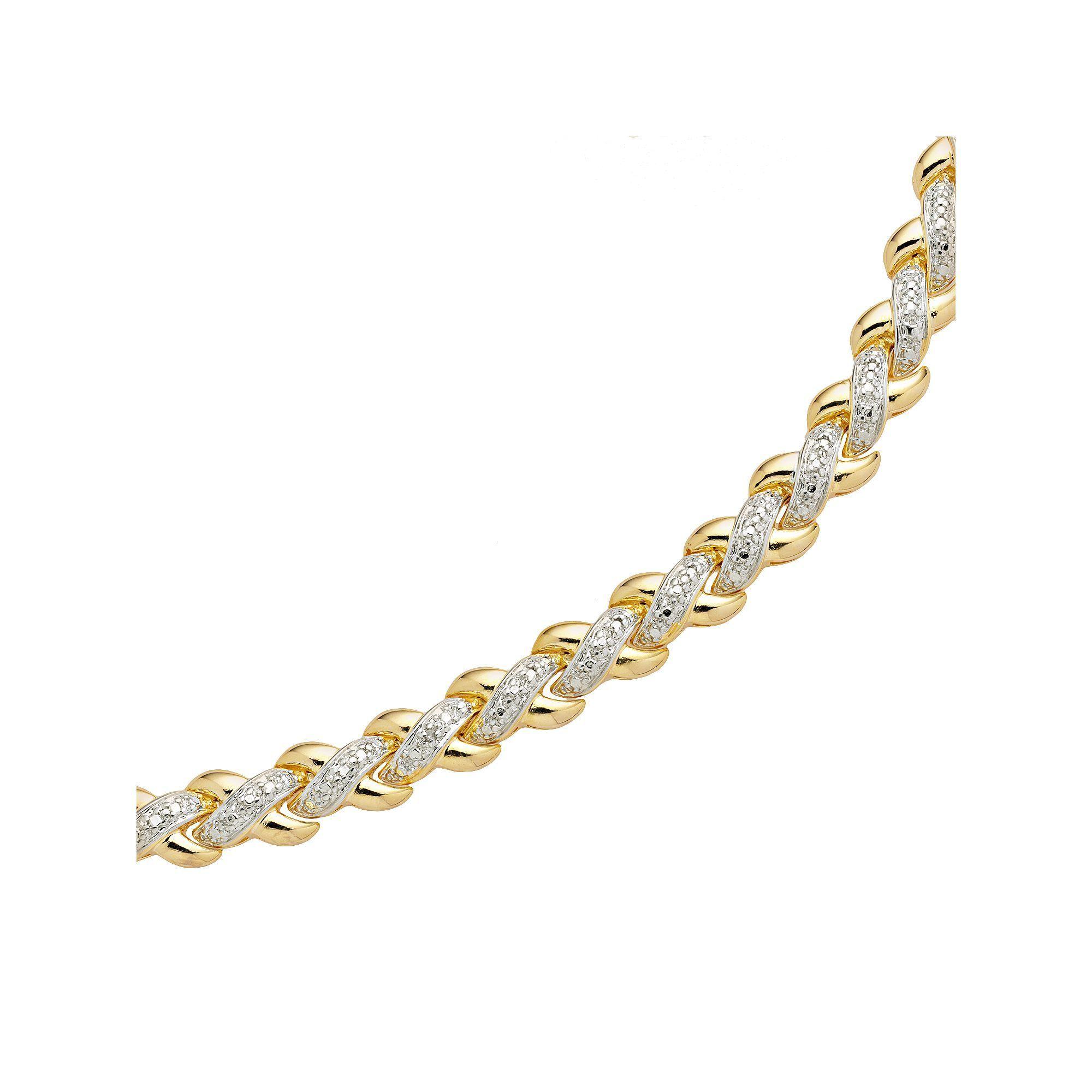 K gold plated diamond accent x link bracelet womenus white