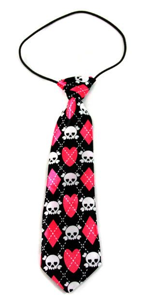 Pink & Black Argyle Skull Tie