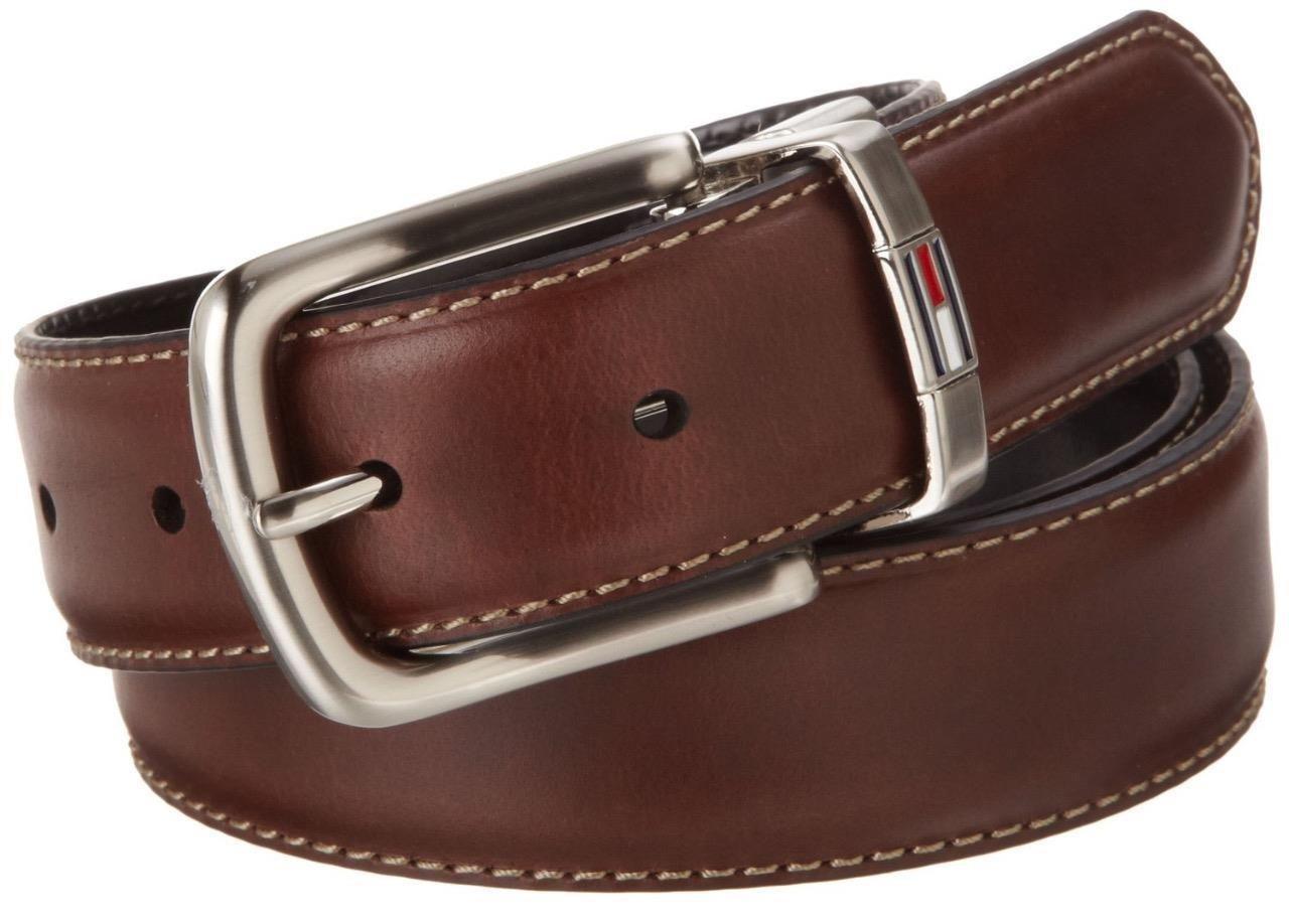 Tommy Hilfiger Men/'s Leather Reversible Dress Belt In Black Brown 11tl08x014