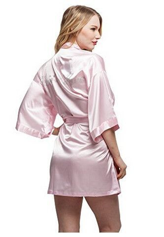 Fashion Silk Bridesmaid Bride Robe Sexy Women Short Satin Wedding Kimono  Robes Sleepwear Nightgown Dress Woman Bathrobe Pajamas 4d27dce45