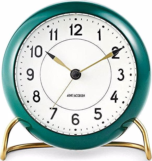The world-renowned architect's table clock with alarm feature was created in 1939. Its graphic look and metal base – clearly referencing his own Ant and No. 7 chairs – make the clock an ideal gift for the design enthusiast. #clock #clocks #homedecor #homedecorationideas #giftideas