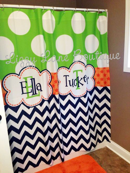 Custom Personalized Shower Curtain Two Sizes Or Size Any Name Monogram Facebook Lizzylaneboutique