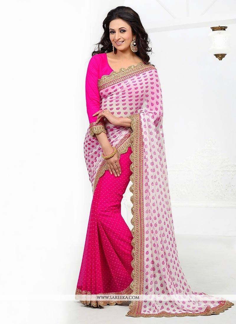 Off saree model images off white and pink color half and half saree  half saree saree and