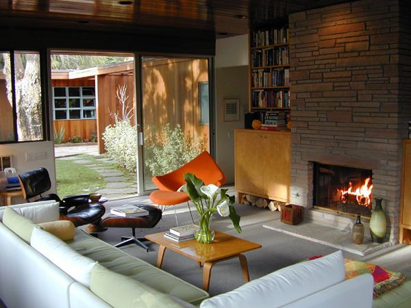 Mid-Century Modern Living Room with Fireplace