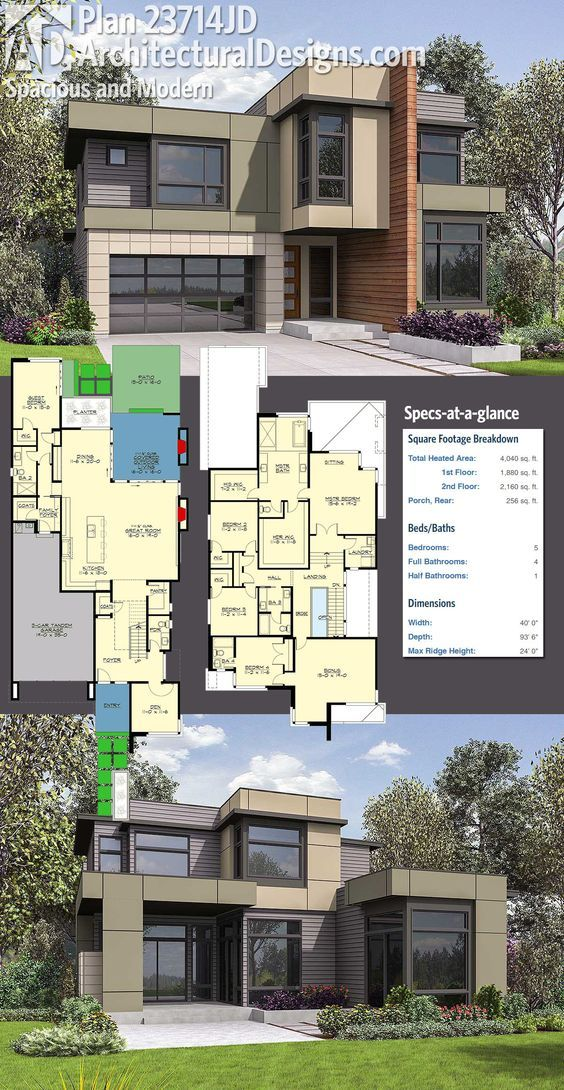 Plan 23714jd Spacious Modern Home Plan With Private Den Modern House Plan House Structure Design Modern House Plans