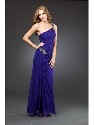Grecian dresses don't have to come in white :-)  But they are always classy  One Shoulder Jeweled Grecian Dress