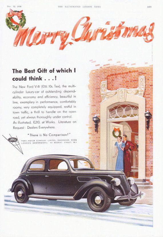Vintage 1936 Ford British Automobile Advertisement Christmas Theme Vintage Christmas Car Christmas Advertising Car Advertising