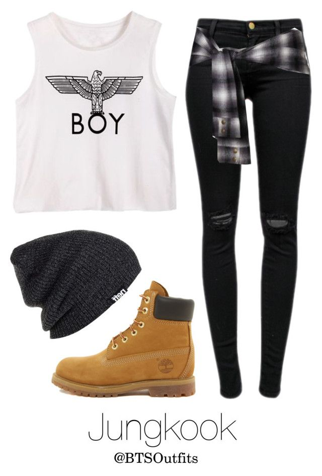 """""""Jungkook Inspired w/ Timberlands"""" by btsoutfits ❤ liked on Polyvore featuring J Brand, Timberland and Neff"""