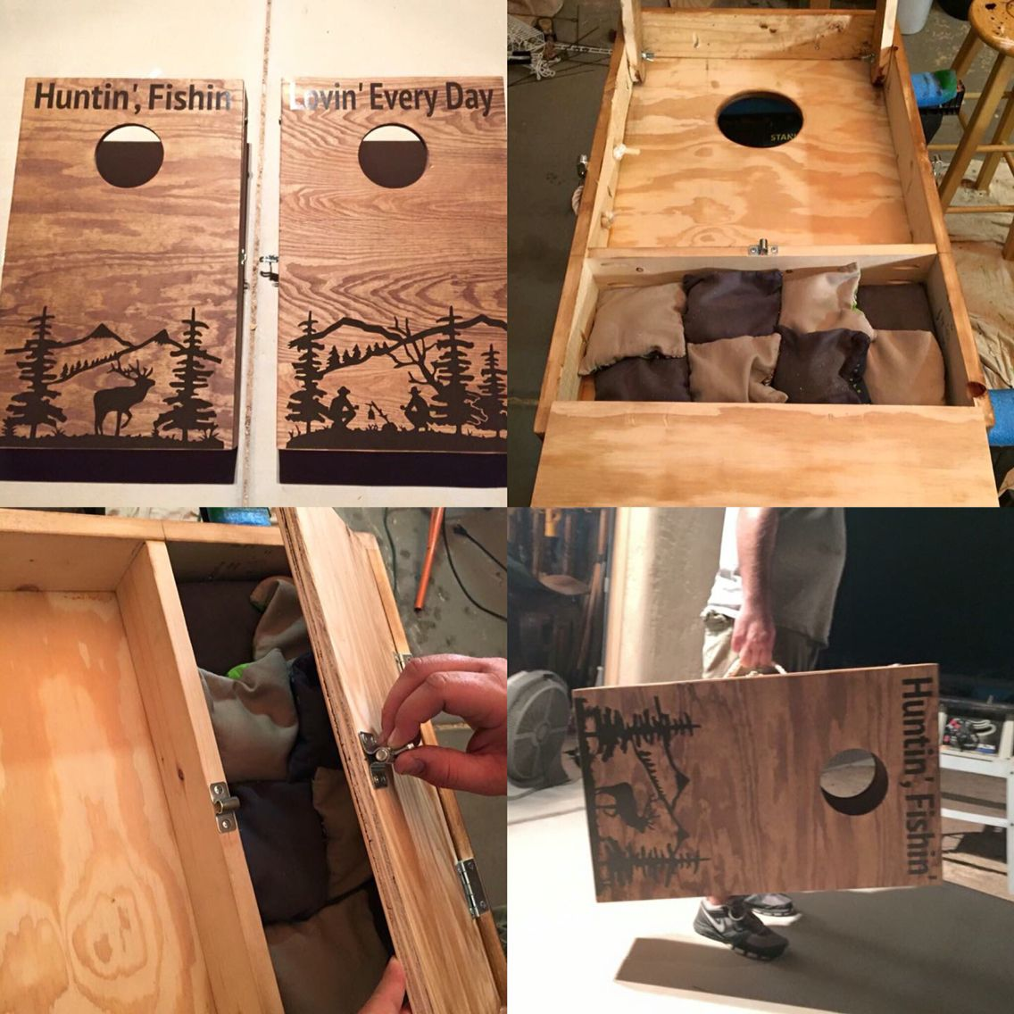 my personal mini travel size set of cornhole boards built mostly for camping - Cornhole Design Ideas