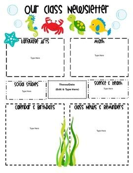 2491fe53c79ba397be2289bcb4d59fb1 Ocean Themed Newsletter Template on microsoft word, free printable monthly, free office, classroom weekly, fun company,