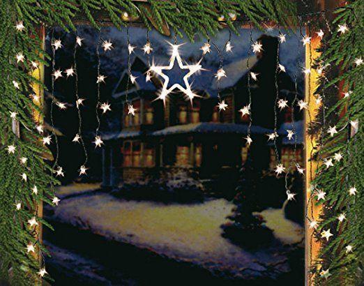 Led lichtervorhang sternenvorhang lichterkette sterne deko - Halloween fenster projektion ...