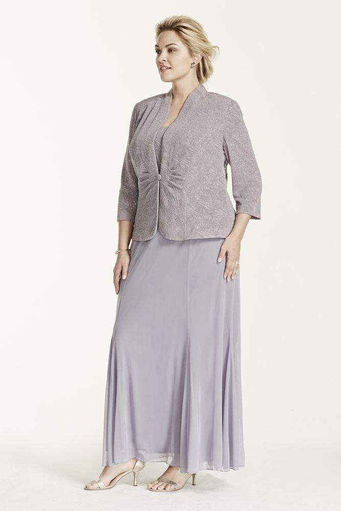 Jersey Plus Size 3/4 Sleeve Long Jacquard Jacket Mother of Bride/Groom Dress - Heaven, WP16