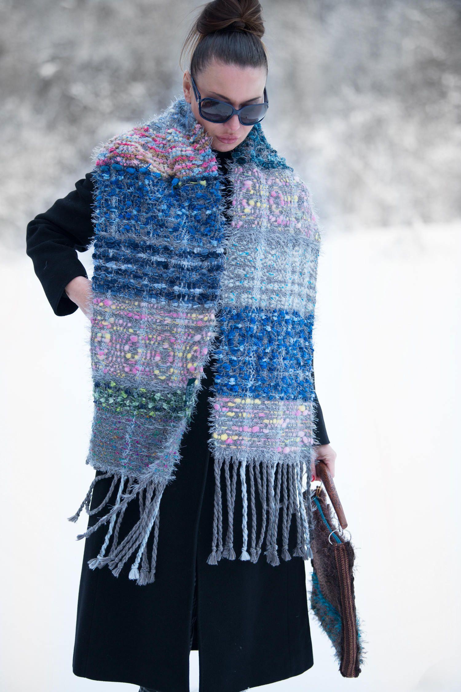 6b5c5bd0cdddb Blue Large Knit Scarf, Scarf with Fringe, Long Wool Scarf, Handmade  Oversized Scarf, Wool Handmade Fringe scarf - SC0865CKW by EUGfashion on  Etsy