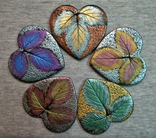 Blackberry leaf heart pendant polymer clay shimmery metallic colours Made from Ginger Allman's free tutorial.
