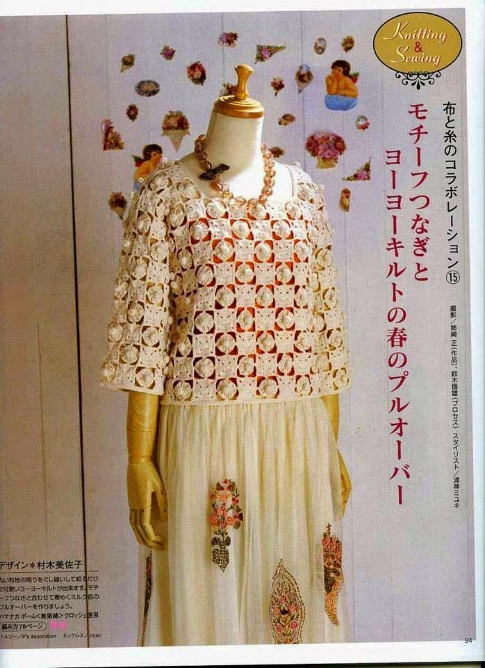 Blusa Circulares Combinada En Capullos Elegante Tela Al Con Crochet zLGjpqSMVU