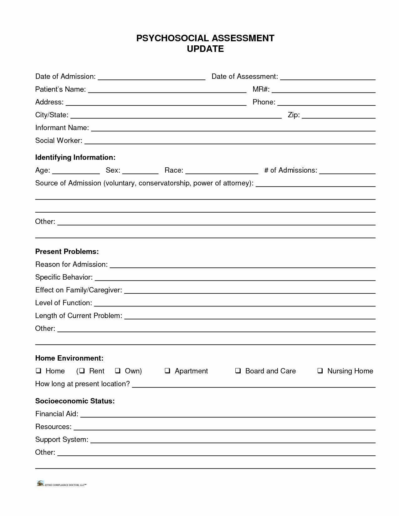 Social Work Assessment Form Elegant 11 Best S Of Social