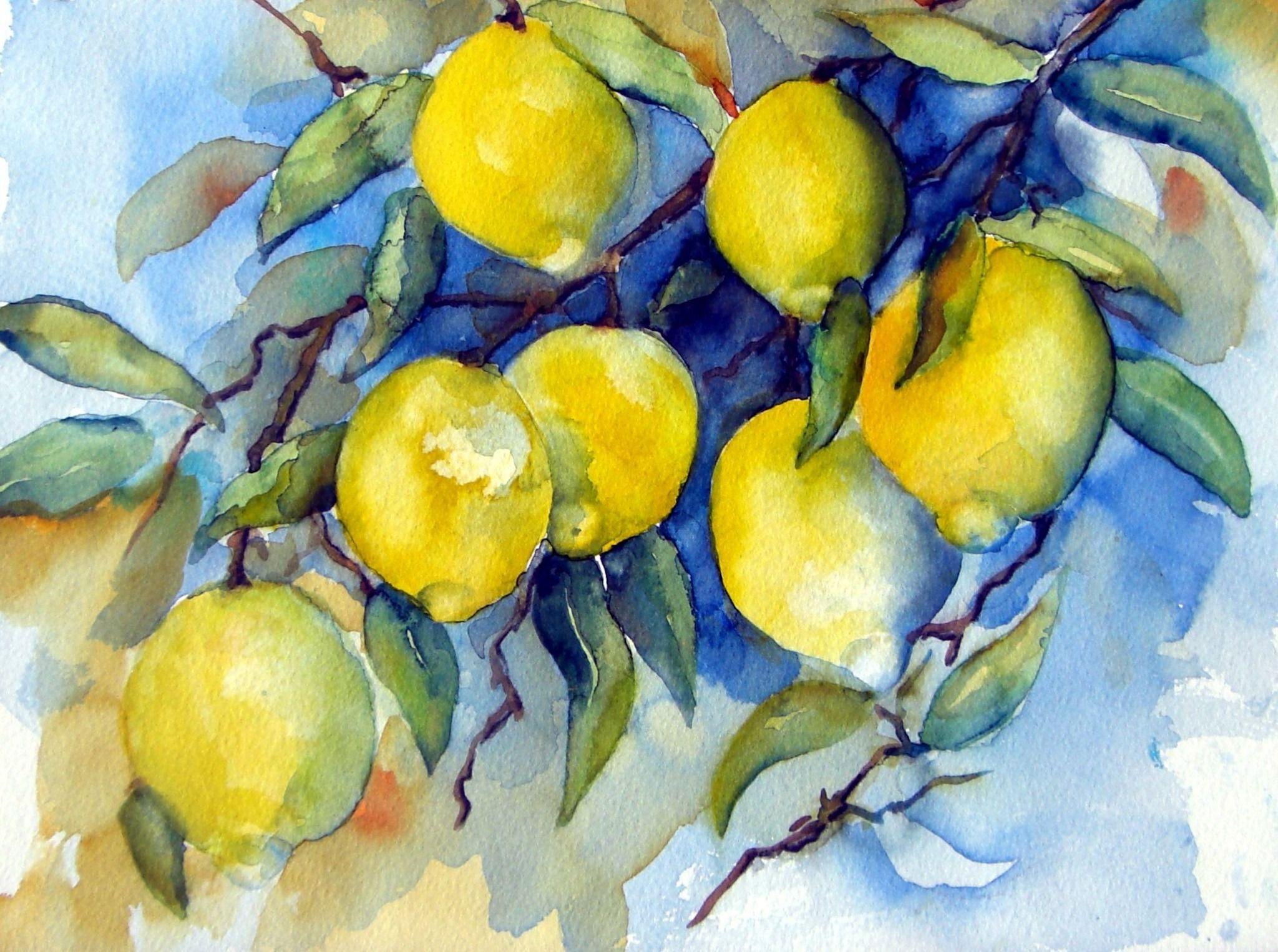 Photo of Zitronen (Aquarell) – franz georg gruber – 2. Bild aus Beitrag: Bilderausstellun…