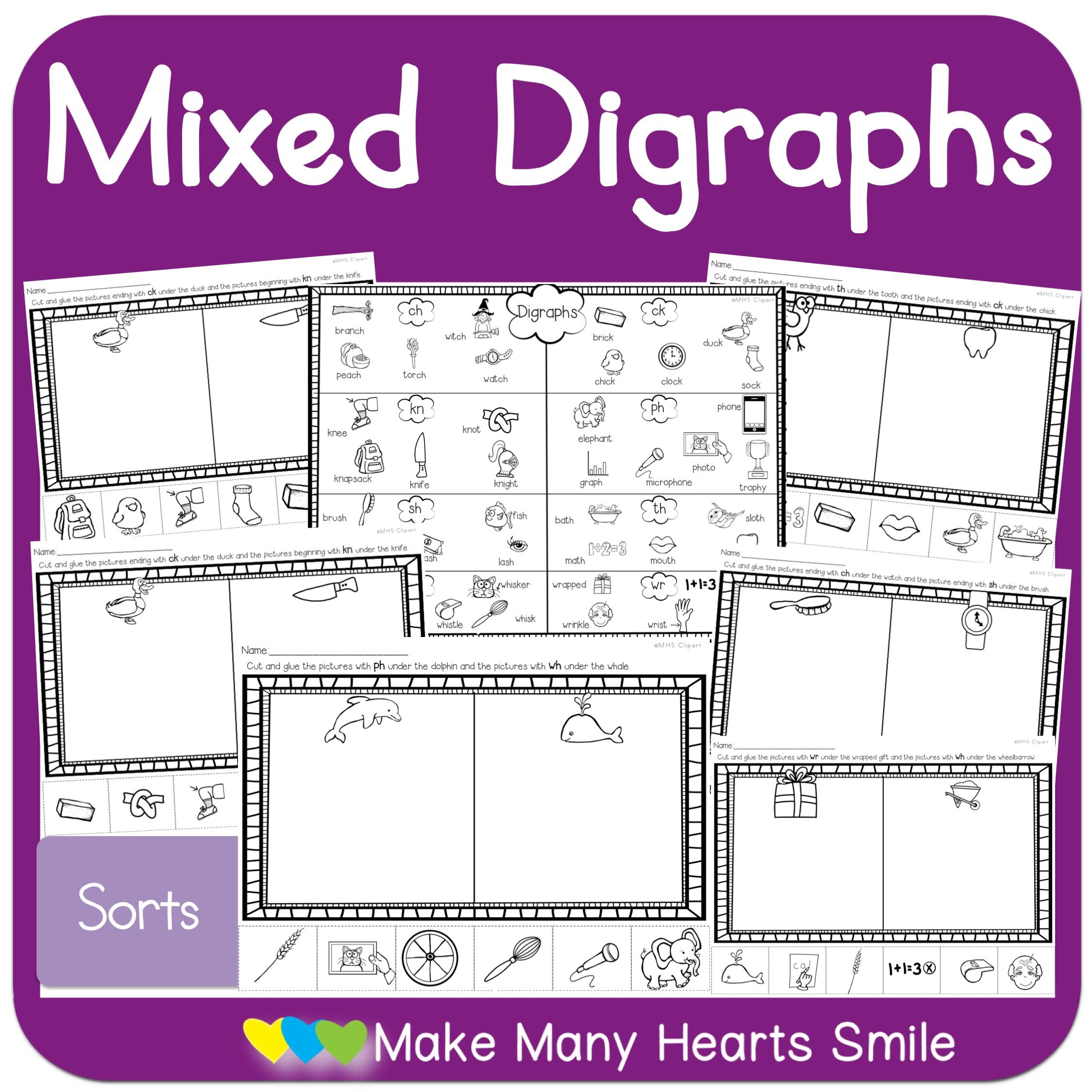 Quick And Simple Sorting Worksheets For Digraphs Review In