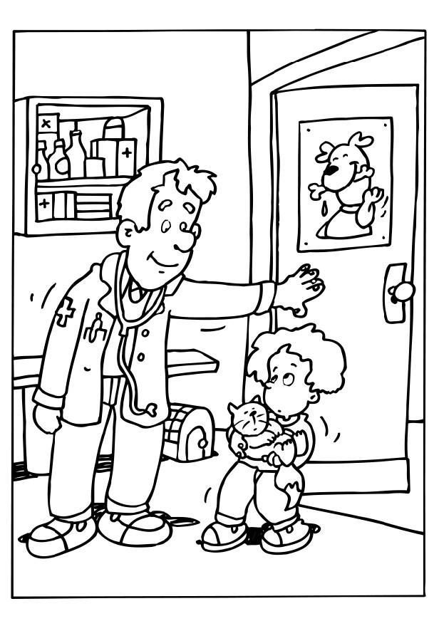 Coloring Page Veterinary Surgeon Dl21230 Jpg 616 872 Pixels Community Helpers Unit Coloring Pages Animal Hospital