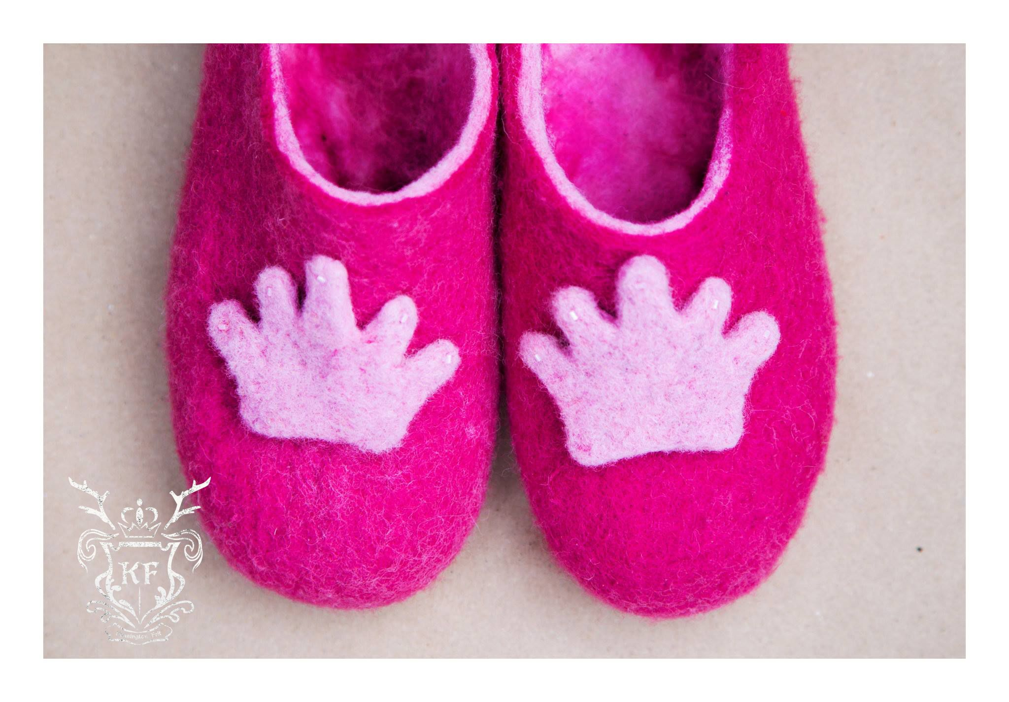 Felted Pink Princess Slippers  Follow us on Facebook! https://www.facebook.com/kensingtonFelt/