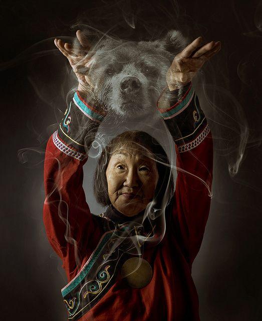 Nadia Duvan, last shaman of the Ulchi people of Siberia, communicating with a bear spirit. By Kiliii Fish