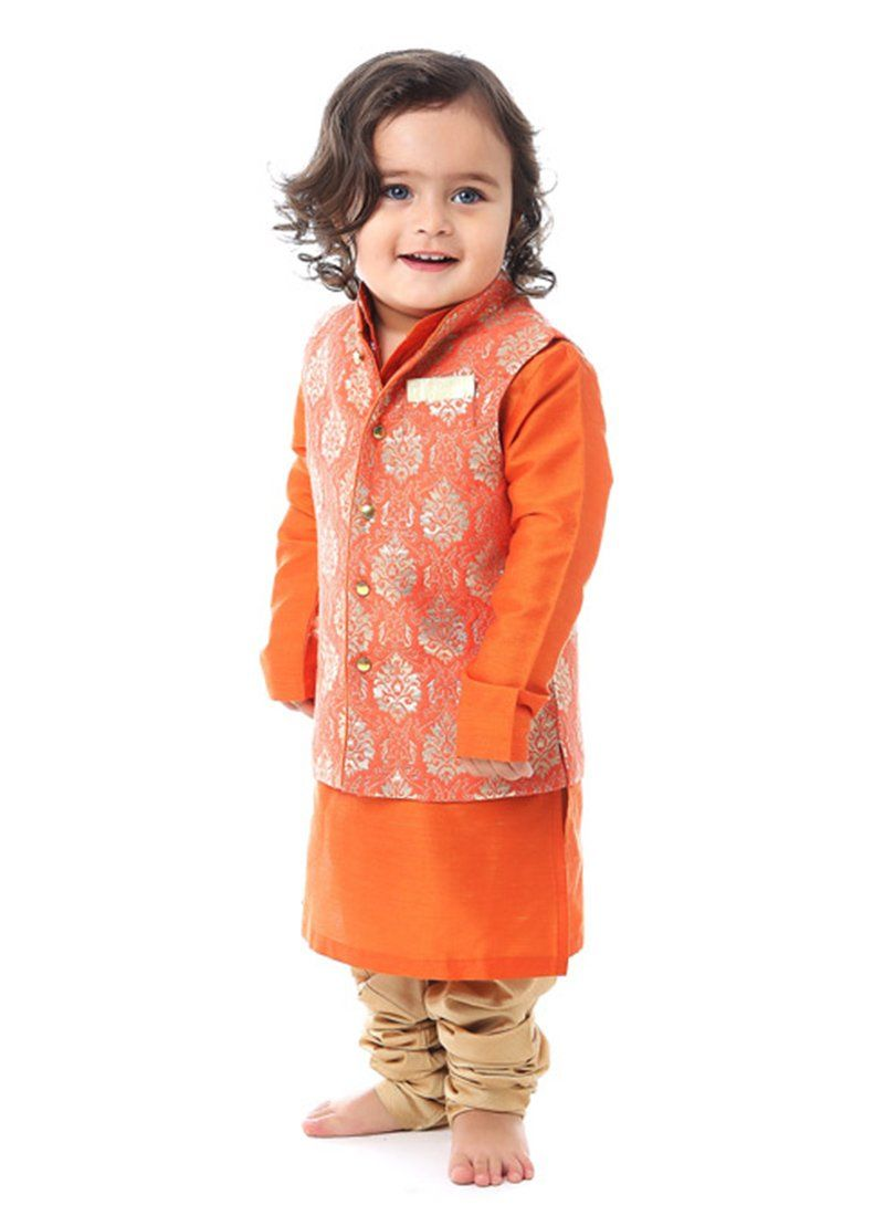 Orange Silk Cotton Kurta Pyjama Kidswear Indian