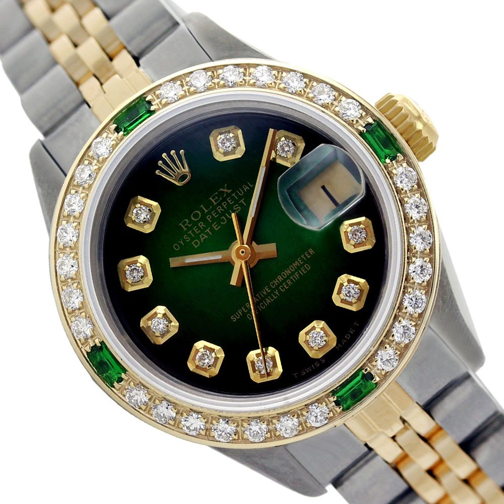 Rolex Lady Dj 2 Tone Green Vignette Diamond Dial Bzl Emerald 69173 Swiss Watch Rolex Casual Rolex Fossil Watches For Men Luxury Watches For Men