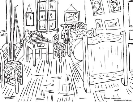Bedroom At Arles By Vincent Van Gogh Coloring Page Vincent Van
