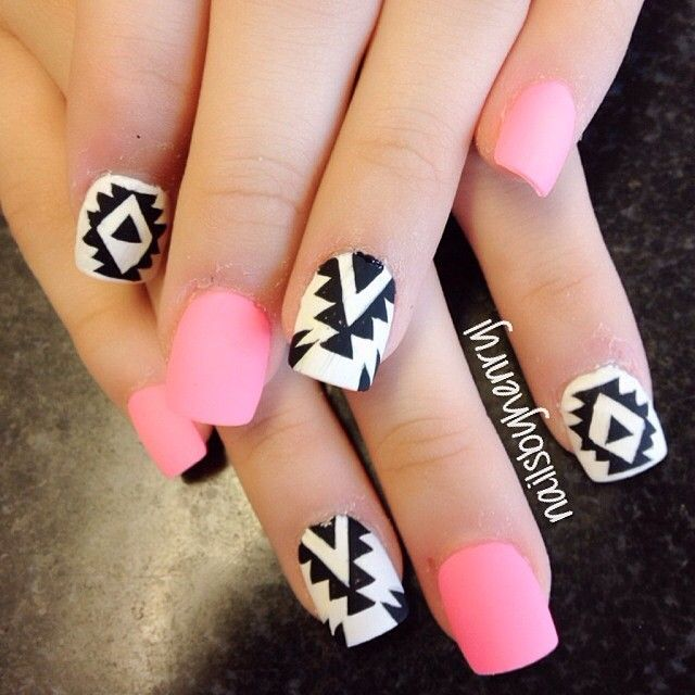Matte pink, black and white tribal print nails❤ ❤ ❤️ - Pink, Black And White Nails Pinterest Nail Nail, Pink Black