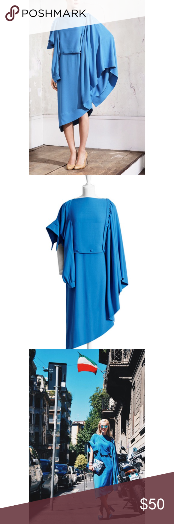 🆕Maison Margiela Blue Sideways Dres Margiela for H&M Unique horizontal dress that can be worn two ways. As a regular dress with a peek a boo train in back or as an artsy sideways dress that is sure to surprise me delight any fashionista. Sadly I lost the belt but the dress works without it as wall. And there's a tiny discoloration on the dress that I have not tried to wash yet, but I believe it could be removed. Feel free to ask questions and make an offer Maison Martin Margiela for H&M…