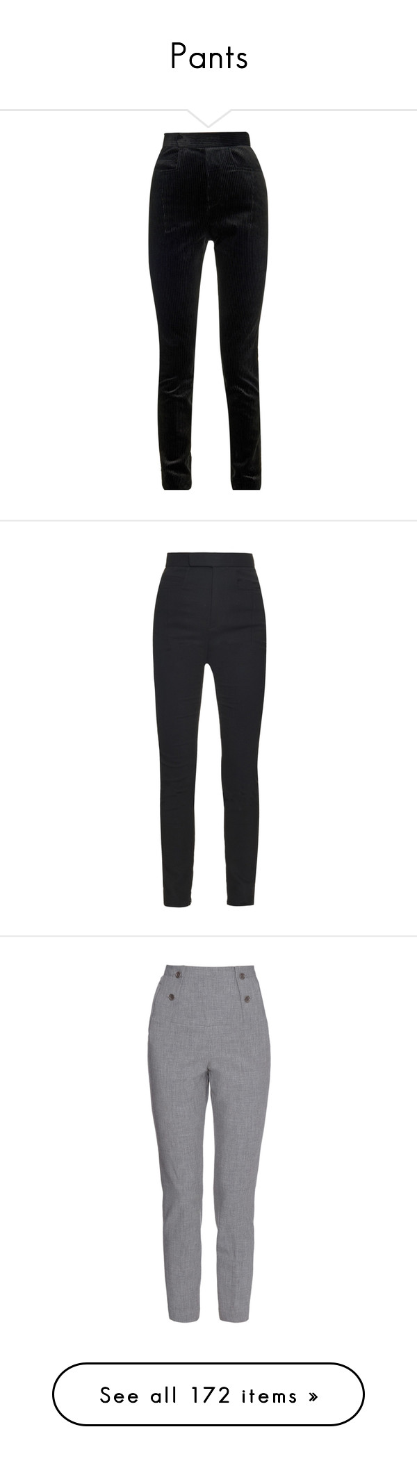 """Pants"" by carolines-closet ❤ liked on Polyvore featuring pants, black, velvet pants, velvet trousers, slim leg pants, high waisted black trousers, black velvet pants, haider ackermann, black pants e high-waisted pants"
