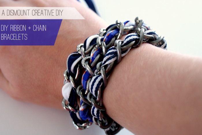 DIY chain and ribbon bracelet