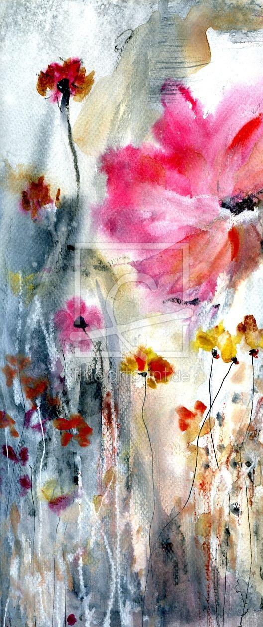Malerei Aquarell Abstrakt Blumen Mohn Malerei Kunstmalerei