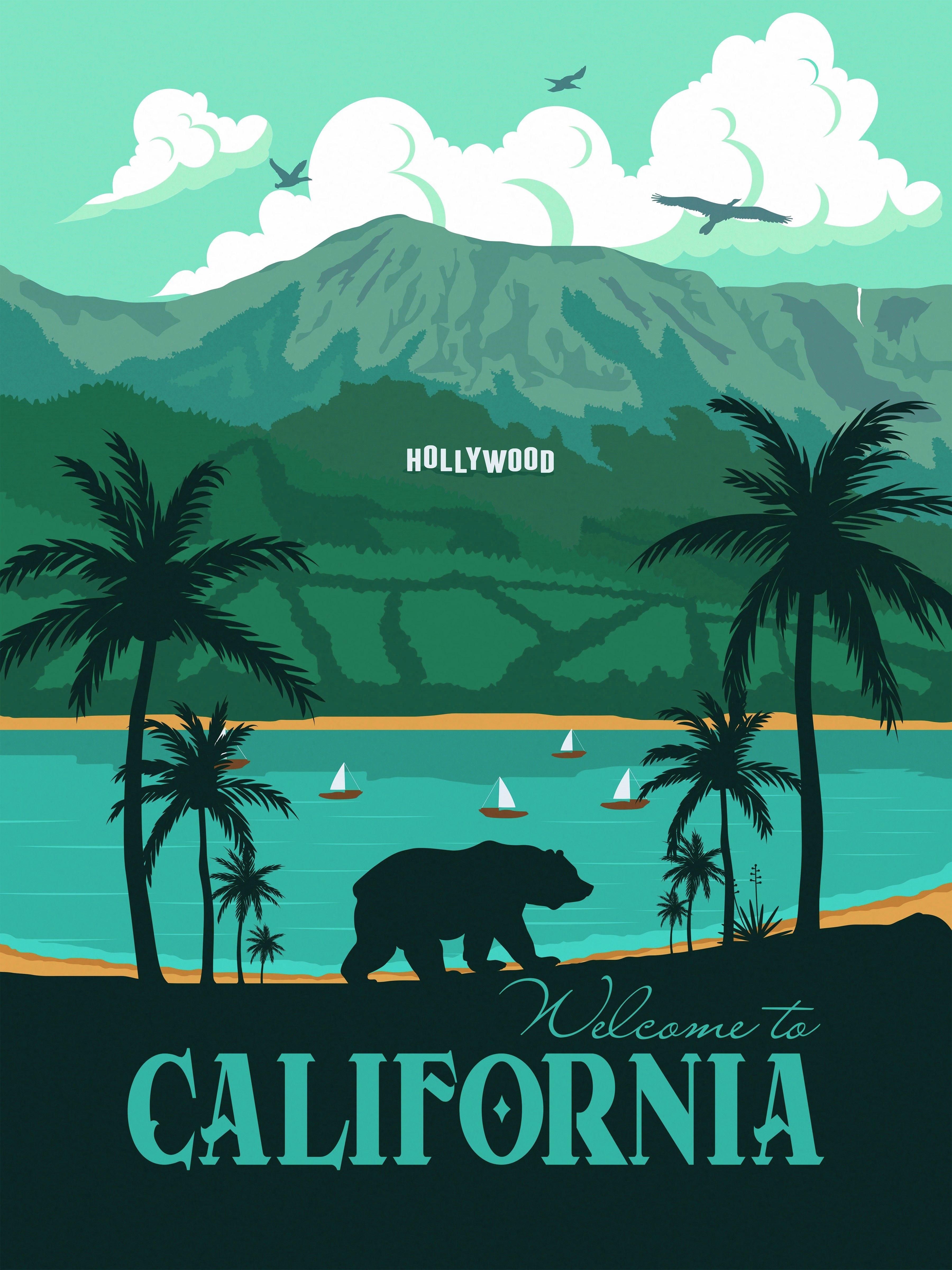 california travel poster landscape los angeles hollywood vintage wall art minimalism bear republic retro travel poster travel posters los angeles travel poster
