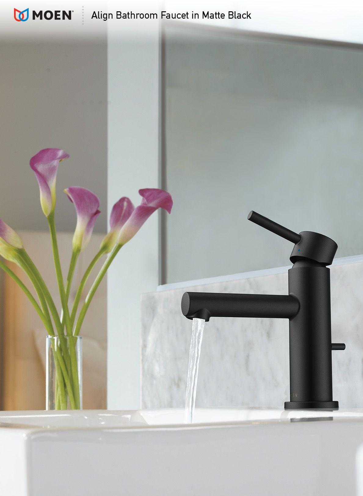 Align Matte Black One Handle High Arc Bathroom Faucet Black