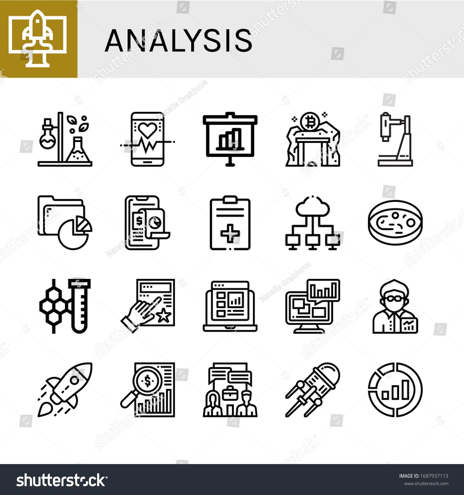 Set of analysis icons. Such as Startup, Test tube, Heart