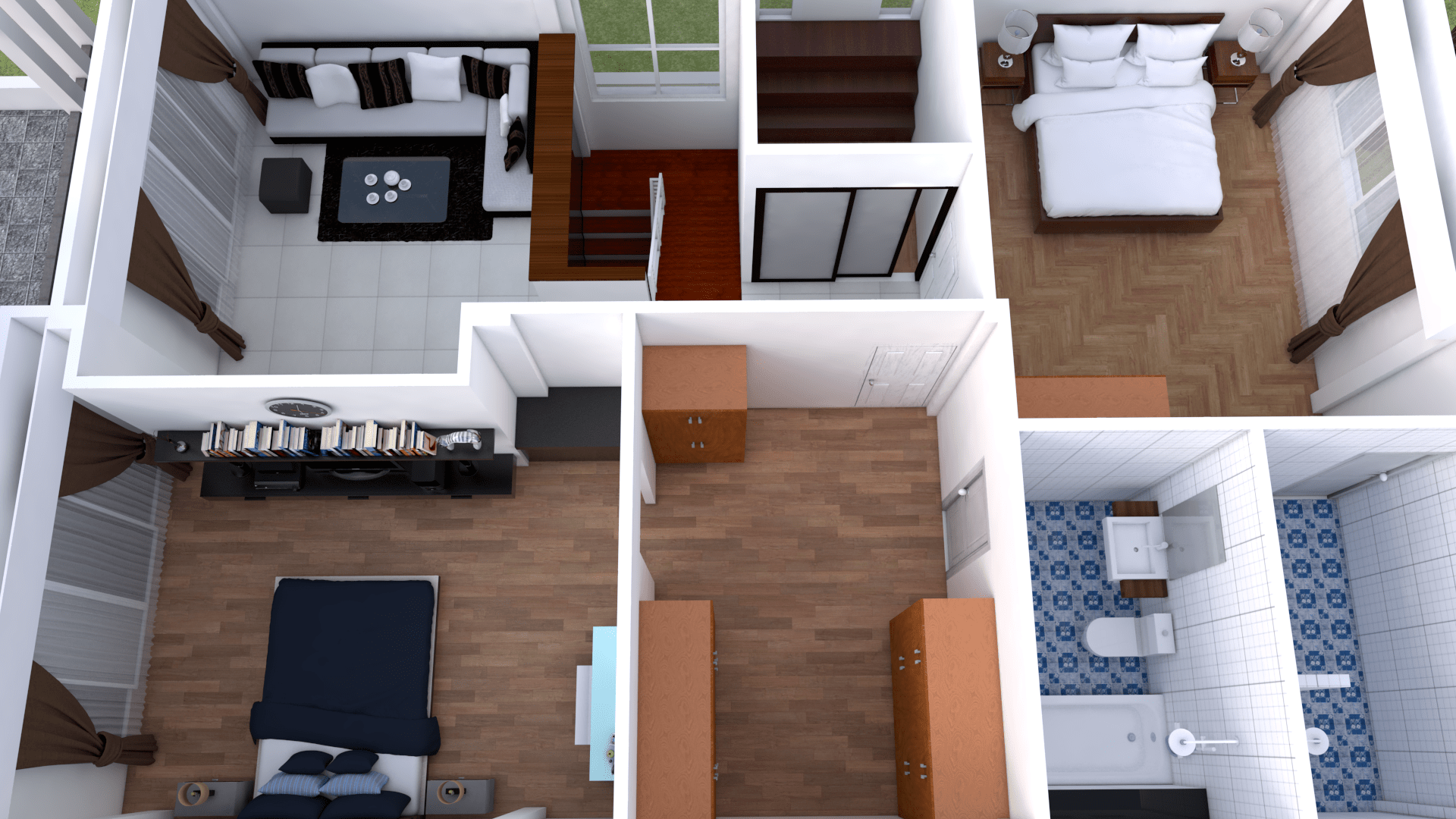 Plan 3d Interior Design Home Plan 8x13m Full Plan 3beds With