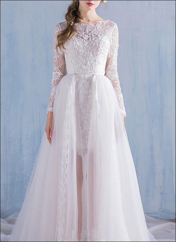 2 in 1 Brautkleid mit abnehmbarer Schleppe | Standesamtkleider ...