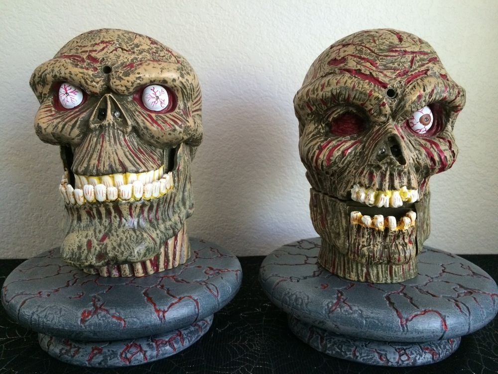 the rotten heads interactive talking zombie skulls animated collectable as is halloween decorationszombiesskull - Talking Skull Halloween