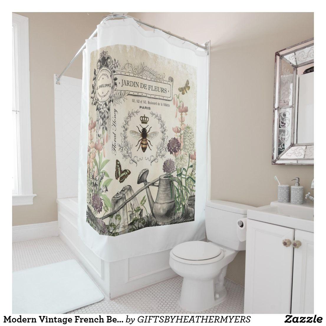 Modern Vintage French Bee Garden Shower Curtain Zazzle Com Garden Shower Elegant Shower Curtains Modern Shower Curtains