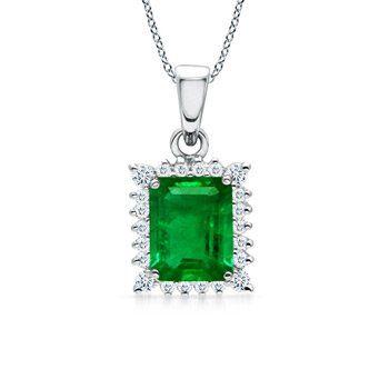 Angara Diamond Halo Emerald Teardrop Pendant in Platinum YKhqSKkP6i